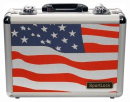 Alumalock Double Handgun Locking Case 'USA Flag Scene' by Sportlock