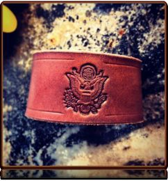 US Army Tribute -- Leather Cuff Bracelet by Soteria Leather