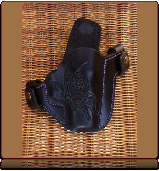 Butterfly Hand Tooled Leather OWB Holster by Soteria Leather