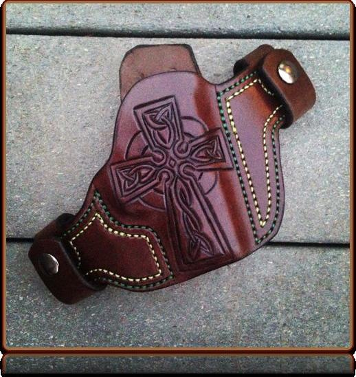 Celtic Cross Custom Leather Holster by Soteria Leather