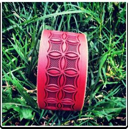The 'Checkered Flower' Leather Bracelet by Soteria Leather