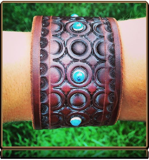 The 'Circles' Custom Leather Wristband by Soteria Leather