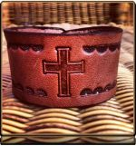 The 'Cross 2 and Rays' Wristband Bracelet by Soteria Leather