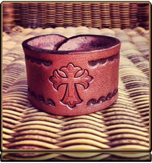 The 'Cross and Rays' Leather Bracelet by Soteria Leather