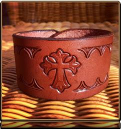 The 'Cross and Thorns' Wristband Bracelet by Soteria Leather