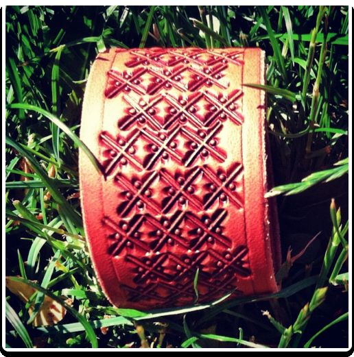 Cross Stitch - Leather Wristband Bracelet by Soteria Leather