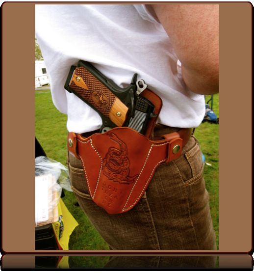 Don't Tread on Me Hand-Tooled Holster by Soteria Leather