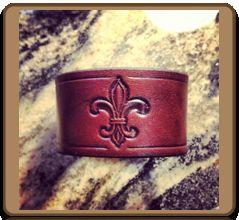 The 'Fleur de Lis' Leather Wristband Bracelet by Soteria Leather