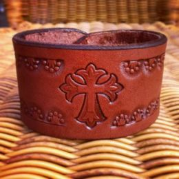 The 'Cross and Crowns' Leather Bracelet by Soteria Leather