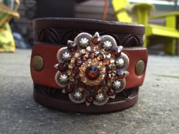 Rhinestone Concho Wristband Bracelet by Soteria Leather