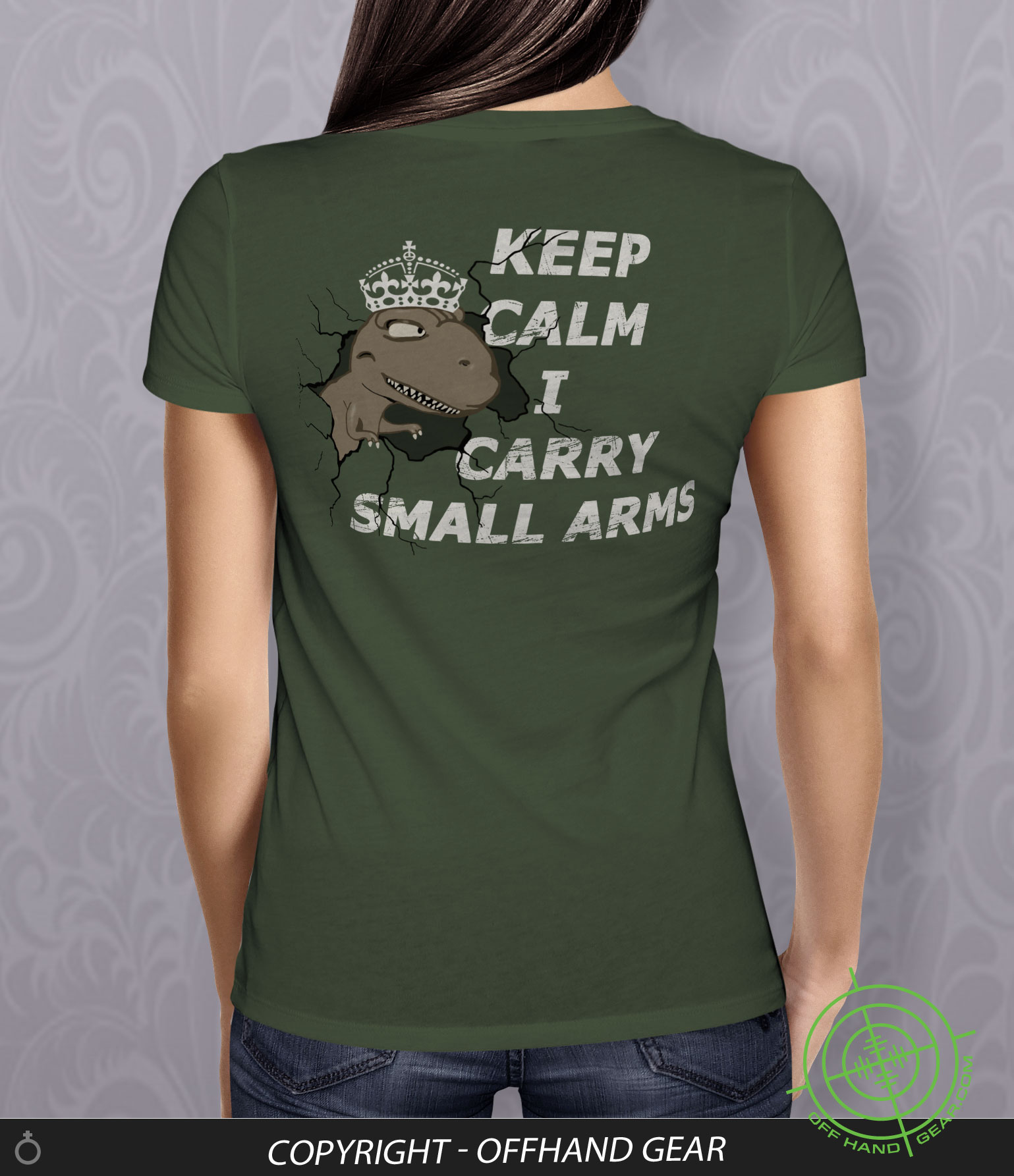 Tee Rex Keep Calm - Olive Green Junior/Fitted - OffHand Gear