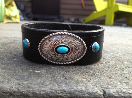 The 'Turquoise Western' Leather Bracelet by Soteria Leather