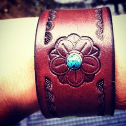 The 'Lotus with Turquoise' Leather Bracelet by Soteria Leather