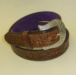 Victory Girl Reverse-Brown Leather Belt by Flashbang Holsters