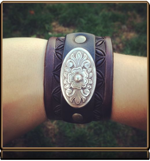 The 'Western Floral' Leather Wristband by Soteria Leather