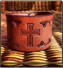 The 'Cross 2 and Thorns' Wristband Bracelet by Soteria Leather