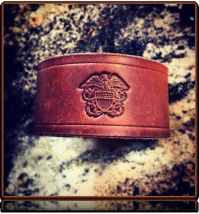 USN Tribute -- Leather Wristband Bracelet by Soteria Leather
