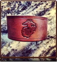 USMC Tribute -- Leather Wristband Bracelet by Soteria Leather